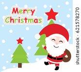 xmas card with cute santa claus ... | Shutterstock .eps vector #621578270
