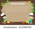 cute kids meal menu vector...   Shutterstock .eps vector #621583553