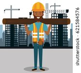 professional construction man... | Shutterstock .eps vector #621584576