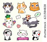 cute cat emoticons   stickers   ... | Shutterstock .eps vector #621584828