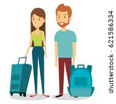 persons with suitcase travel | Shutterstock .eps vector #621586334