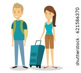 persons with suitcase travel | Shutterstock .eps vector #621586370