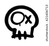 graffiti emoji skull sprayed in ... | Shutterstock .eps vector #621606713