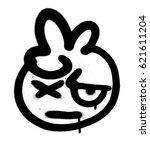 graffiti doubting emoji sprayed ... | Shutterstock .eps vector #621611204
