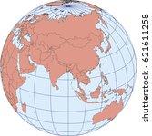 globe map centered on asia.... | Shutterstock .eps vector #621611258