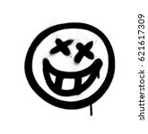 graffiti emoji with a grin... | Shutterstock .eps vector #621617309