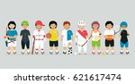 young athletes in various... | Shutterstock .eps vector #621617474