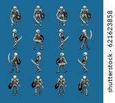 skeleton walk animation cycle... | Shutterstock .eps vector #621623858