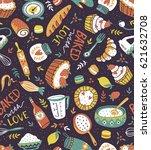 bakery retro seamless pattern... | Shutterstock .eps vector #621632708