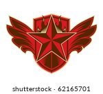 flaming star with wings emblem   Shutterstock .eps vector #62165701