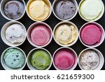 top view ice cream flavors in... | Shutterstock . vector #621659300