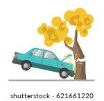car crash accident in tree flat ...   Shutterstock .eps vector #621661220