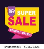 super sale vector banner.  50... | Shutterstock .eps vector #621673328