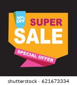 super sale vector banner.  50... | Shutterstock .eps vector #621673334