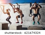 fit young people doing box... | Shutterstock . vector #621674324