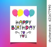 happy birthday card with...   Shutterstock .eps vector #621677990