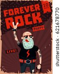 forever rock. old school music. ... | Shutterstock .eps vector #621678770