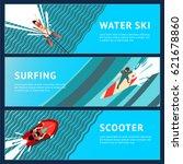water sport horizontal banner.... | Shutterstock .eps vector #621678860