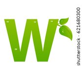 green eco letter w vector... | Shutterstock .eps vector #621680300