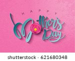 colorful flower with happy... | Shutterstock .eps vector #621680348