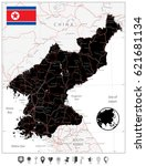 north korea map black color and ... | Shutterstock .eps vector #621681134