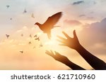 woman praying and free bird... | Shutterstock . vector #621710960