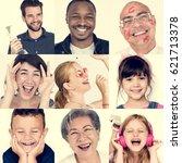 set of diversity people happy... | Shutterstock . vector #621713378