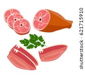 fresh raw meat isolated on... | Shutterstock .eps vector #621715910