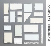 notebook papers with torn edge... | Shutterstock .eps vector #621718400