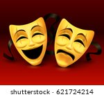 gold theatrical masks on red... | Shutterstock .eps vector #621724214