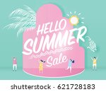 hello summer sale text on... | Shutterstock .eps vector #621728183