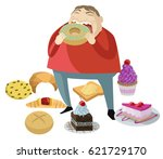 man with eating disorder eat... | Shutterstock .eps vector #621729170