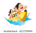 banana shaped boats and families | Shutterstock . vector #621729494