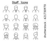 staff icon set in thin line... | Shutterstock .eps vector #621730970