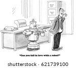 business cartoon about a robot... | Shutterstock . vector #621739100