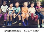 group of children are in a... | Shutterstock . vector #621744254