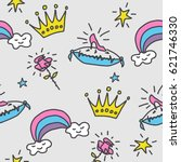 seamless pattern with crowns ... | Shutterstock .eps vector #621746330