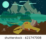 outdoor scene with a stargazing ... | Shutterstock .eps vector #621747008