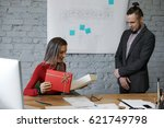 time for present. man colleague ... | Shutterstock . vector #621749798