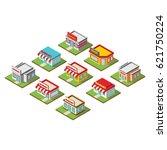 market 3d icon building design...