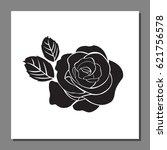 black rose icon on frame ... | Shutterstock .eps vector #621756578