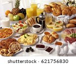 breakfast table filled with... | Shutterstock . vector #621756830