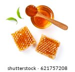 honeycomb with jar and honey... | Shutterstock . vector #621757208