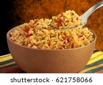 bowl full of cooked rice with... | Shutterstock . vector #621758066