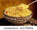 bowl of indonesian nasi goreng...   Shutterstock . vector #621758906