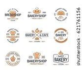 bakery logo set consisting of... | Shutterstock .eps vector #621761156