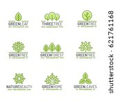 tree and leaves logo set green... | Shutterstock .eps vector #621761168