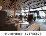Stock photo hotel lobby restaurant interior 621766529
