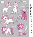 set with cute pink unicorns | Shutterstock .eps vector #621767720