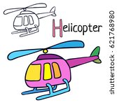 helicopter. coloring book page. ... | Shutterstock .eps vector #621768980